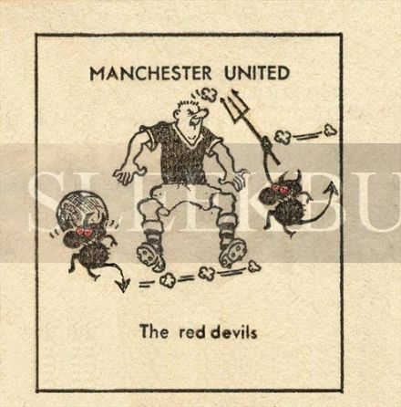 VINTAGE Football Print MANCHESTER UNITED RED DEVILS Funny Cartoon